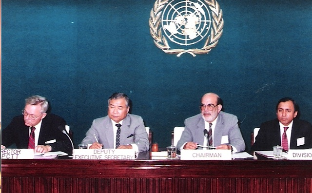 Tariq Mustafa presiding over the meeting of the Board of Governors of the Asian Pacific centre for Technology Transfer (APCTT) at Bangkok- circa 1992