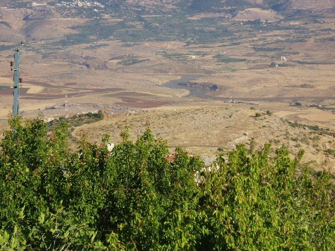 The low-water level in Litani River, Bekaa Valley of Lebanon.  Precipitation in the Fertile Crescent countries were very low this past winter and the people are feeling brunt of that.